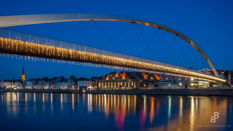 Maastricht, Hoeg Brögk, Hoge Bruge, Voetgangersbrug, Nederland, Limburg, Architecture, Blue Hour, Cityscape, Holland, Netherlands, River, Maas